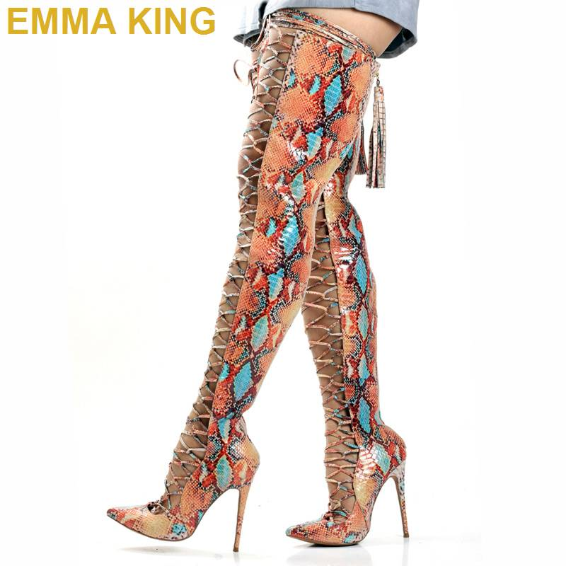 Sexy Snakeskin Pointed Toe Women Sandals Thigh High Boots Stiletto High Heels Shoes Summer Cut out Over the Knee Boots for WomanSexy Snakeskin Pointed Toe Women Sandals Thigh High Boots Stiletto High Heels Shoes Summer Cut out Over the Knee Boots for Woman