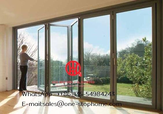 Double vitrage lowes bi porte pliante/accordéon aluminium verre patio extérieur à deux volets portes/porte bi-pli anti-serrage porte pliante
