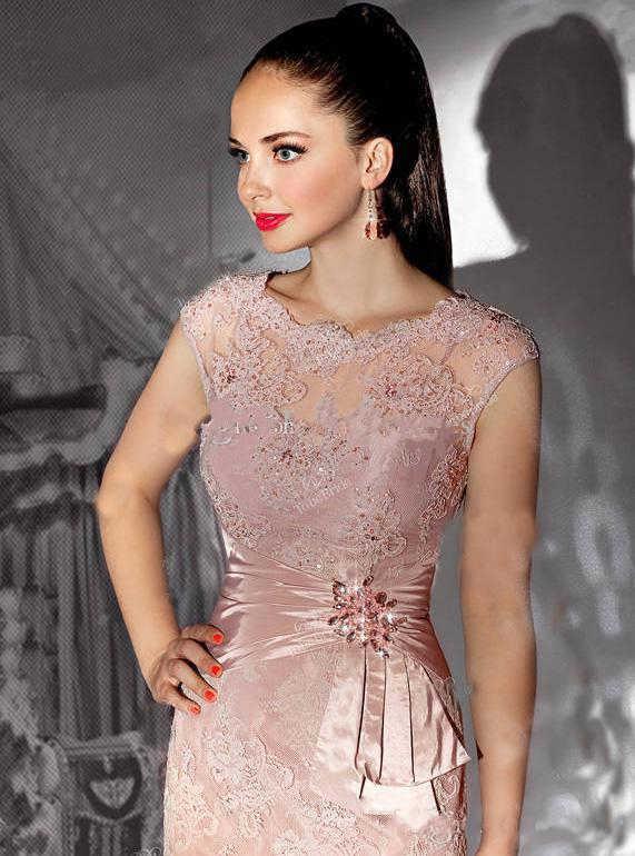 Illusion koronkowe aplikacje sukienka dla matki kolano długość zroszony suknia wieczorowa matka panny młodej sukienki na suknia ślubna de mariee