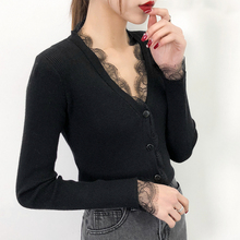 2019 new spring coat collar female V sweater slim lace cardigan back in early