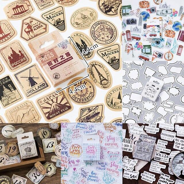 45 unids/caja de una persona de pegatinas Vintage edificios etiqueta adhesiva pegatinas de decoración para Scrapbooking diario de álbumes