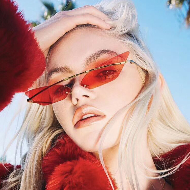 Fashion Cat Eye Small Sunglasses Women Trending Brand Skinny Colorful Ocean Piece Metal Frame Sunnies Sun Glasses Red Gold Blue
