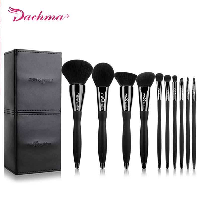 New Arrival Makeup Brushes Set 10pcs Professional Cosmetics Beauty Tool Copper Ferrule Resin Handle With PU Leather Cylinder