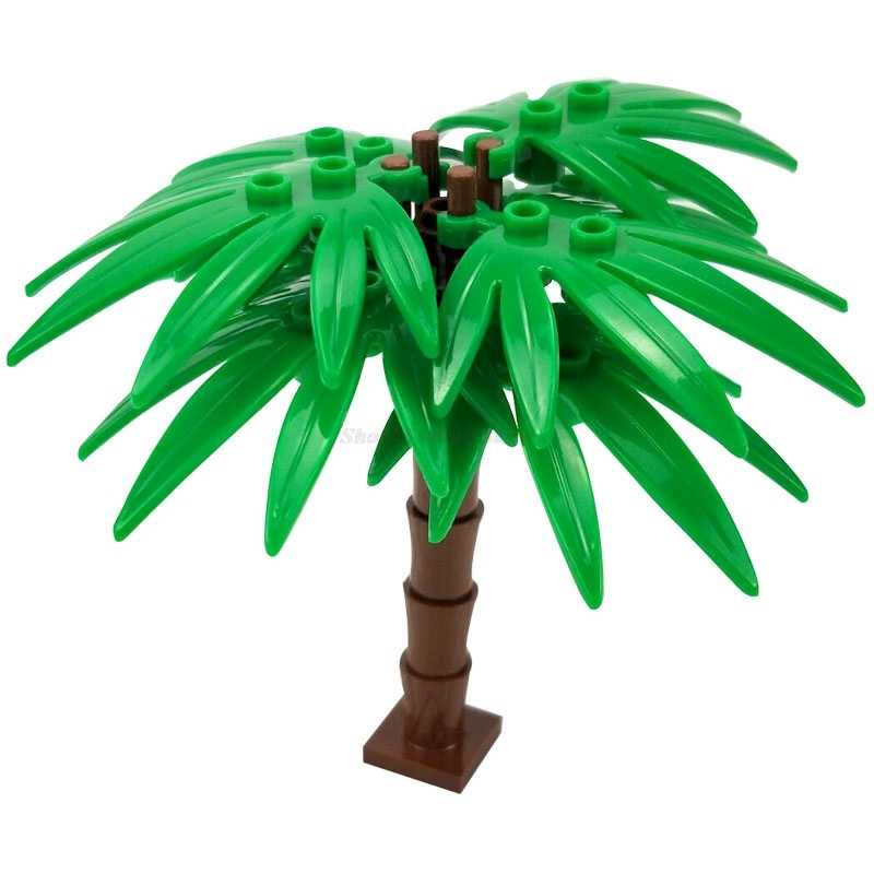עיר Moc בלוקים יער ירוק צמחייה פרח עציץ Pu Kui דובדבן פריחת עצי צבעוני תצוגת רחוב ילדים צעצועי Moc סטים