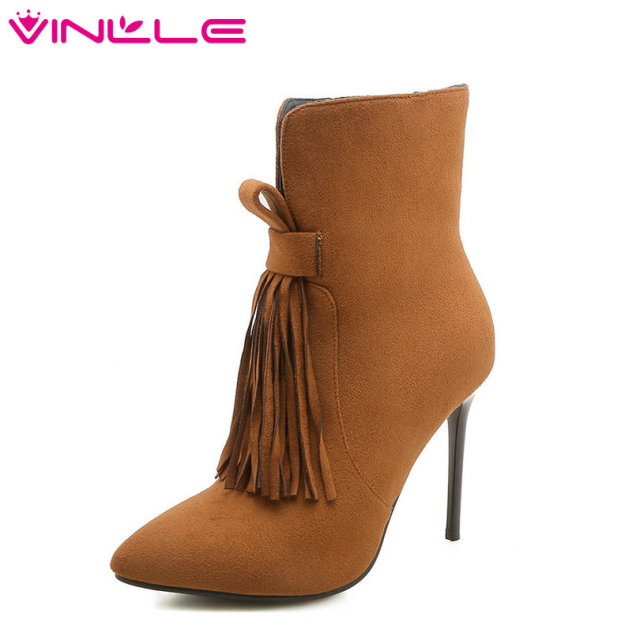 VINLLE 2019 Women Ankle Boots Winter Shoes Platform Sexy