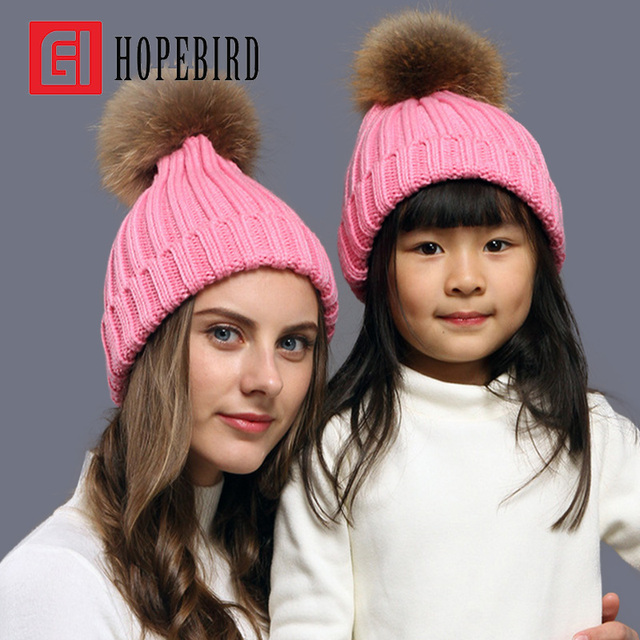 Fashion Real Raccoon Fur Winter Mother Daughter Pompons Knitted Hat For Women Cotton Girl Cap Skullies Knit Beanie Pom Hat