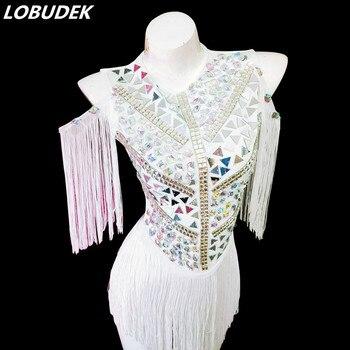 2019 Nightclub Female DJ Singer White Tassels Mirrors Crystals Bodysuit Sexy Stage Wear Bar Performance Women Jazz Dance Costume