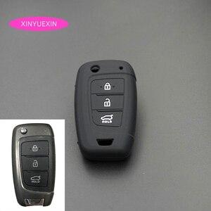 Image 1 - Xinyuexin Auto Schlüssel Fall Abdeckung Silikon für Hyundai Elantra Solaris 2016 2017 2018 3 Tasten Klapp Remote Key Shell