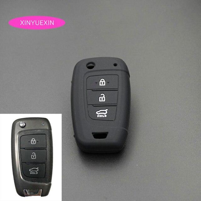 Xinyuexin Auto Schlüssel Fall Abdeckung Silikon für Hyundai Elantra Solaris 2016 2017 2018 3 Tasten Klapp Remote Key Shell