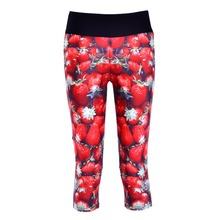 New 1045 Sexy Girl Women Fruit strawberry berries 3D Prints Workout stretch Fitness Cropped Trousers Leggings Pocket Pants
