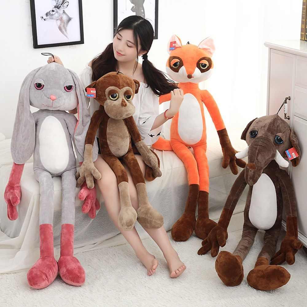 60-120 см милые мягкие Kawaii обезьяна/Слон Фокс Плюшевые игрушки Детские Куклы Kawaii подарок для детей подарок на день рождения