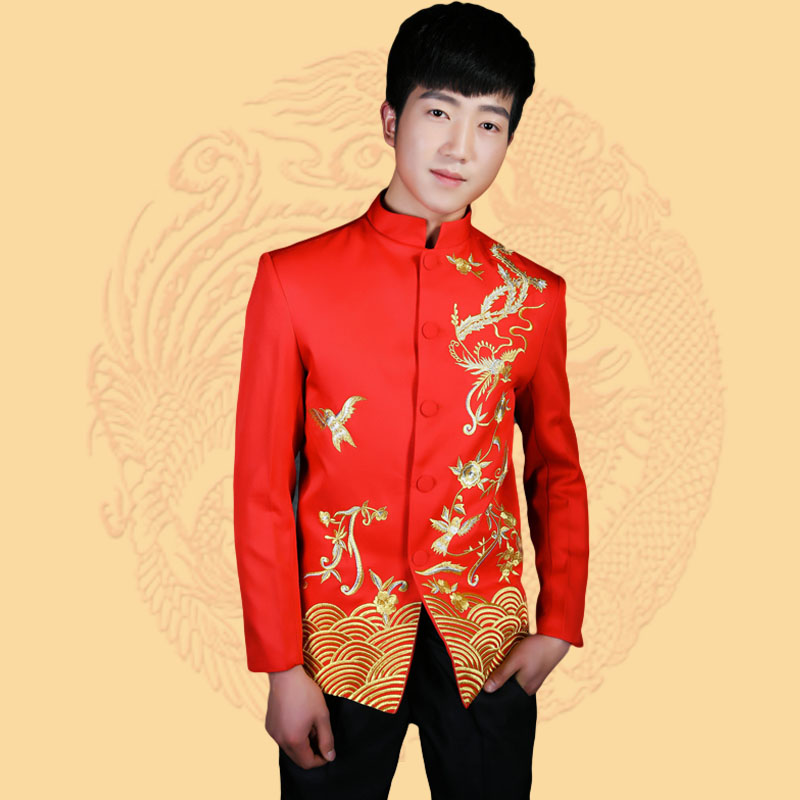 Rouge chinois tunique Costume hommes col montant traditionnel costumes de l'apec Leader Costume mâle broderie Dragon Totem Costume