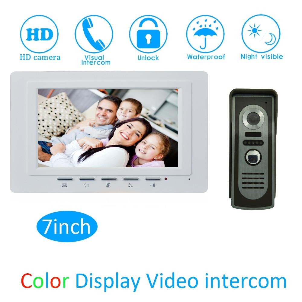 (1 Set) TFT LCD Colorful Monitor Door Access Intercom System HD Camera 7 Video Door Phone Waterproof Doorbell Calling System