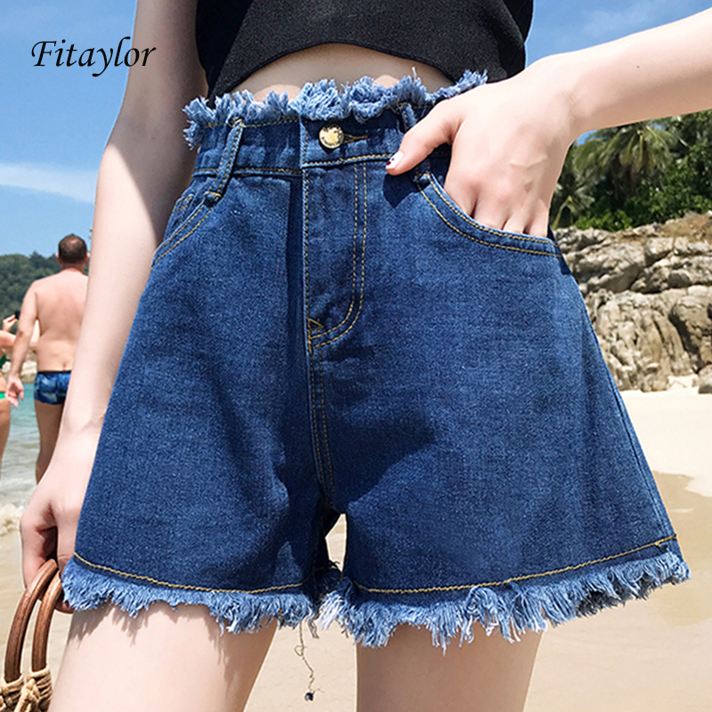 Fitaylor 2020 Women New Arrival Casual Summer Hot Sale Denim Women Shorts High Waists Fur-lined Plus Size Sexy Short Jeans