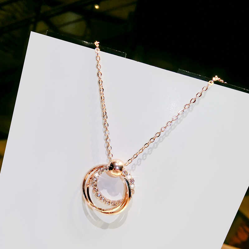 Rose gold circle pendant necklace female clavicle chain hipster simple small fresh wild gift