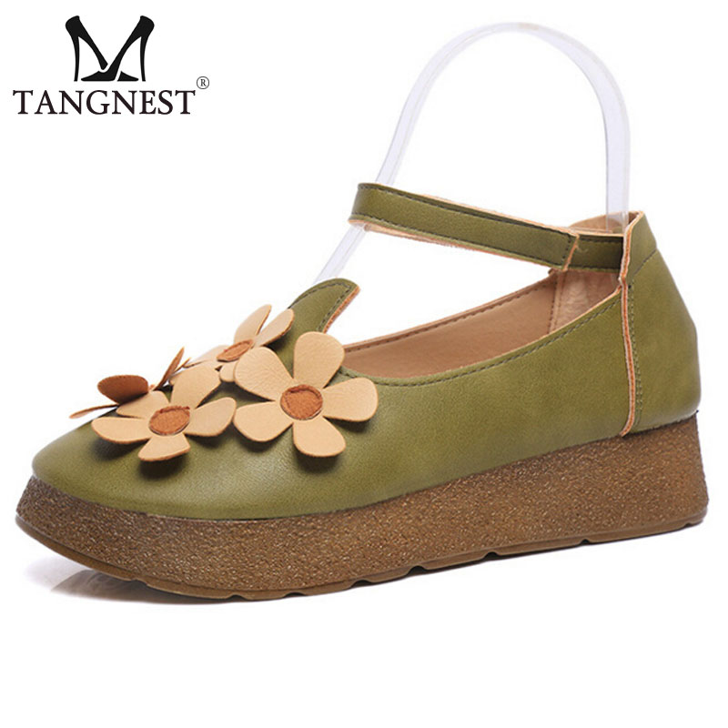 Autumn Vintage Women Creepers Sweet Flower Women Ankle Strap Platform Flats Round Toe Comfortable Shoes For