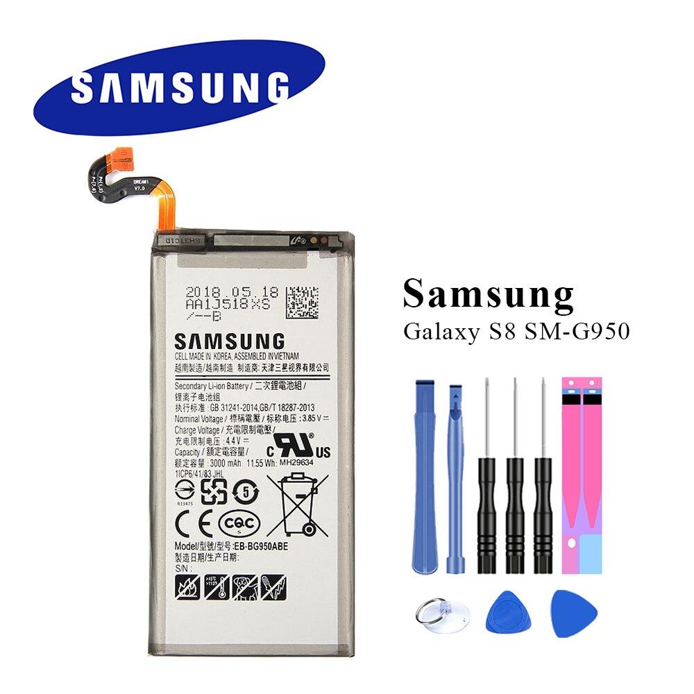 Bateria original EB-BG950ABE para samsung galaxy s8 SM-G9508 g9508 g9500 g950u g950f 3000 mah akku + ferramentas