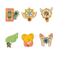SANSUMMER Brooches 2019 New Fashionable Cartoon Star Stick Mocha Girl Sakura Bow Cat Tarot Lovely Pink Style Brooch Badge 5665