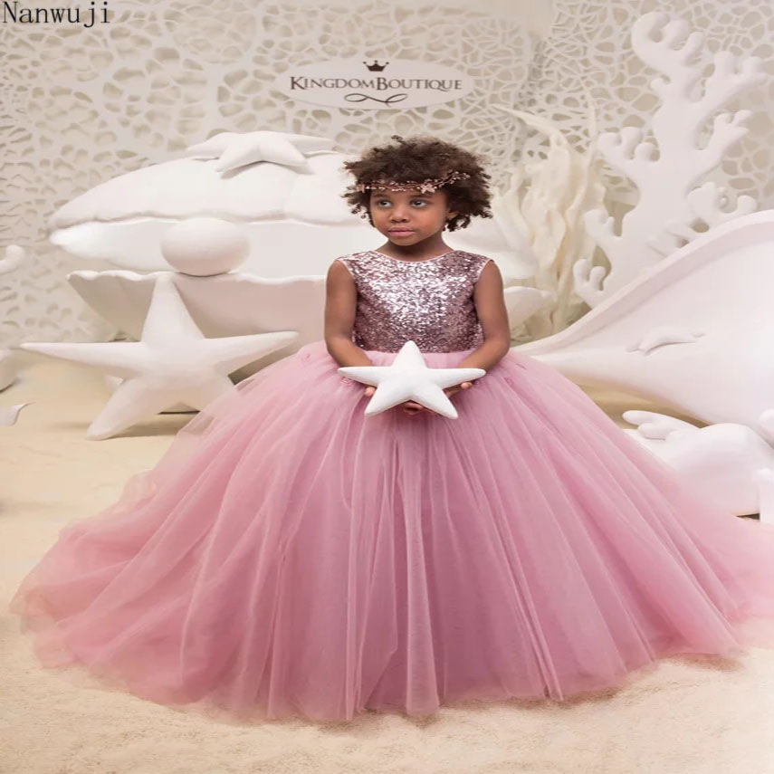 2018blush Pink Flower Girl Dress With Sparkling Sequins Birthday