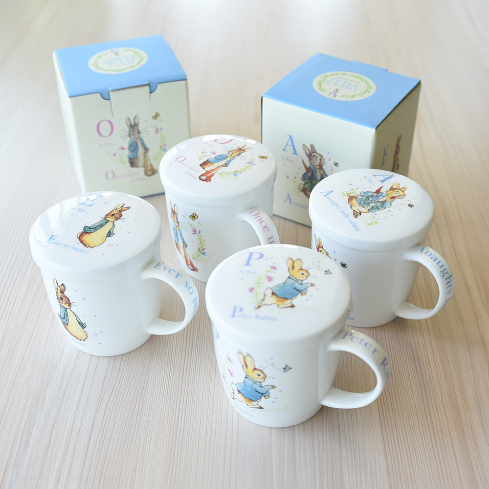 Cute cartoon Rabbit cup milk cup with cover breakfast cup gift bone China cup wiht gift box