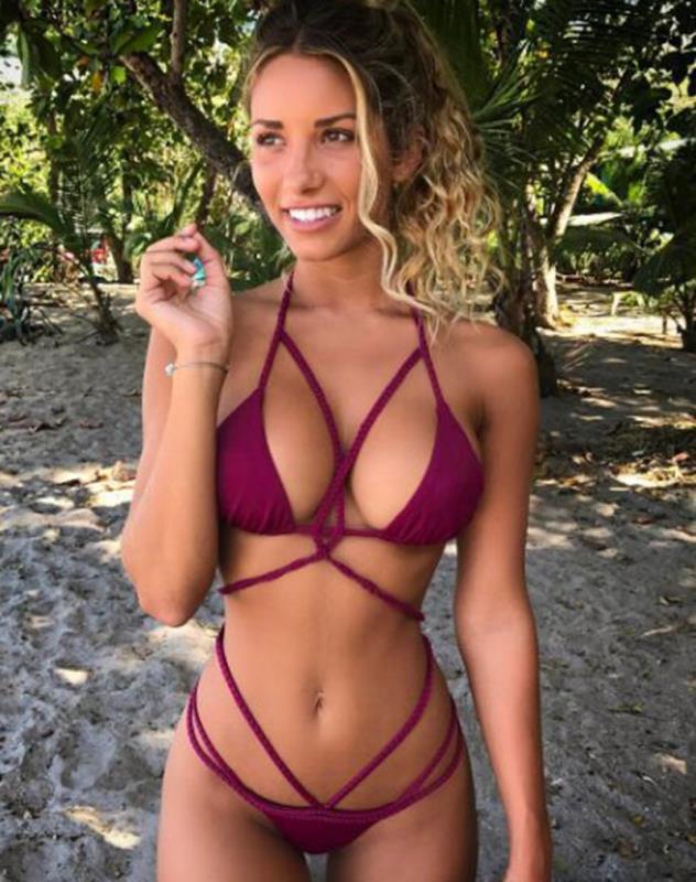 AliExpress Explosion Sources Tie Weave Buckle WISH Halter Bikini Swim  Summer 10 Colors victoria secret women  Solid 4