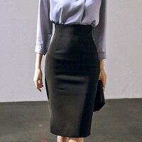 Foamlina Elegant Ladies Office Pencil Skirt 2018 New Autumn Black High Waist Knee Length Back Slit Women's Business Work Skirt
