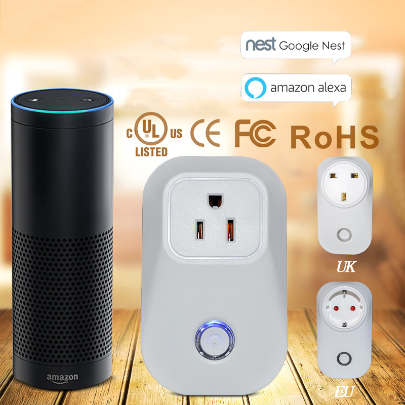 Work with Amazon Alexa Smart Outlet timer WiFi socket plug outlet US smart phone Control for ios ipad Android domotica Sockets qiachip wifi wireless power smart home socket outlet switch remote control work with amazon alexa for ios android voice control