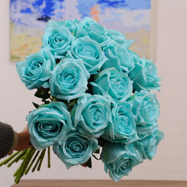Fake Single Stem Rose Artificial Flowers Simulation Roses Flower Head For DIY Bridal Bouquet Home Showcase