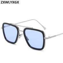Vintage Steampunk Sunglasses Men Women Brand Designer Tony Stark Iron Man Goggle