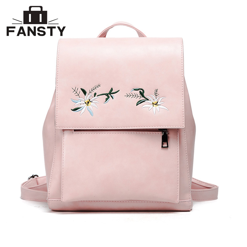 2017 New Floral PU Leather Women Back Bag Ladies Famous Brands Female Backpack Flower Embroidered Lady
