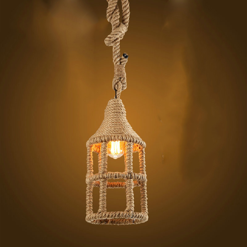 Loft Style Nordic Retro Hanglamp Creative Pastoral Clothing Store Coffee Hall Rope Chandelier Vintage Industrial Lighting vintage clothing store personalized art chandelier chandelier edison the heavenly maids scatter blossoms tiny cages