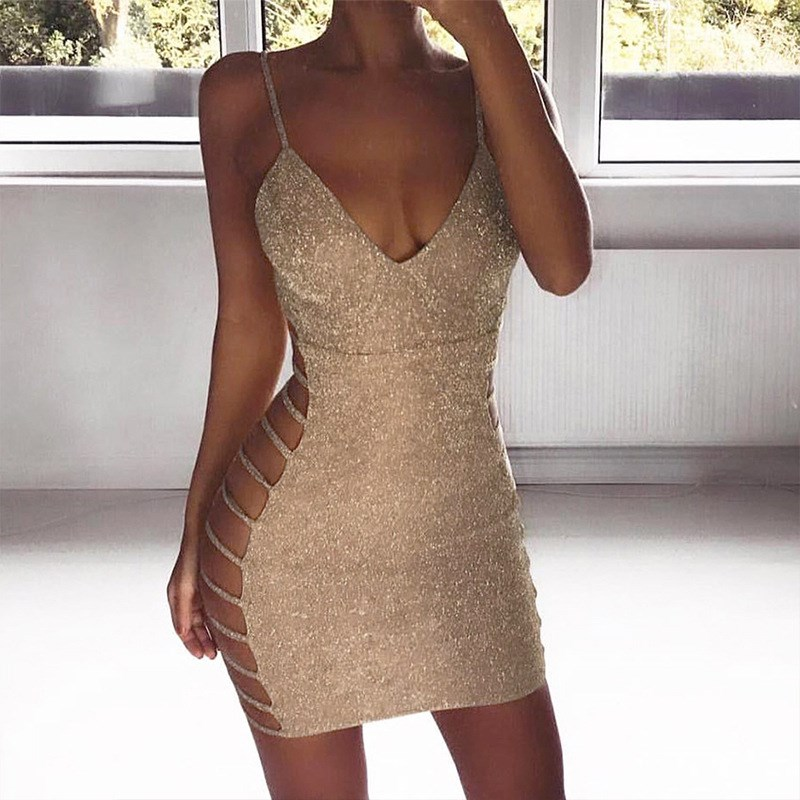 Women Sequin Lace Up Solid Summer Dress V Neck Hollow Out Gold Sling Vestidos  Sexy Sleeveless e026520be174