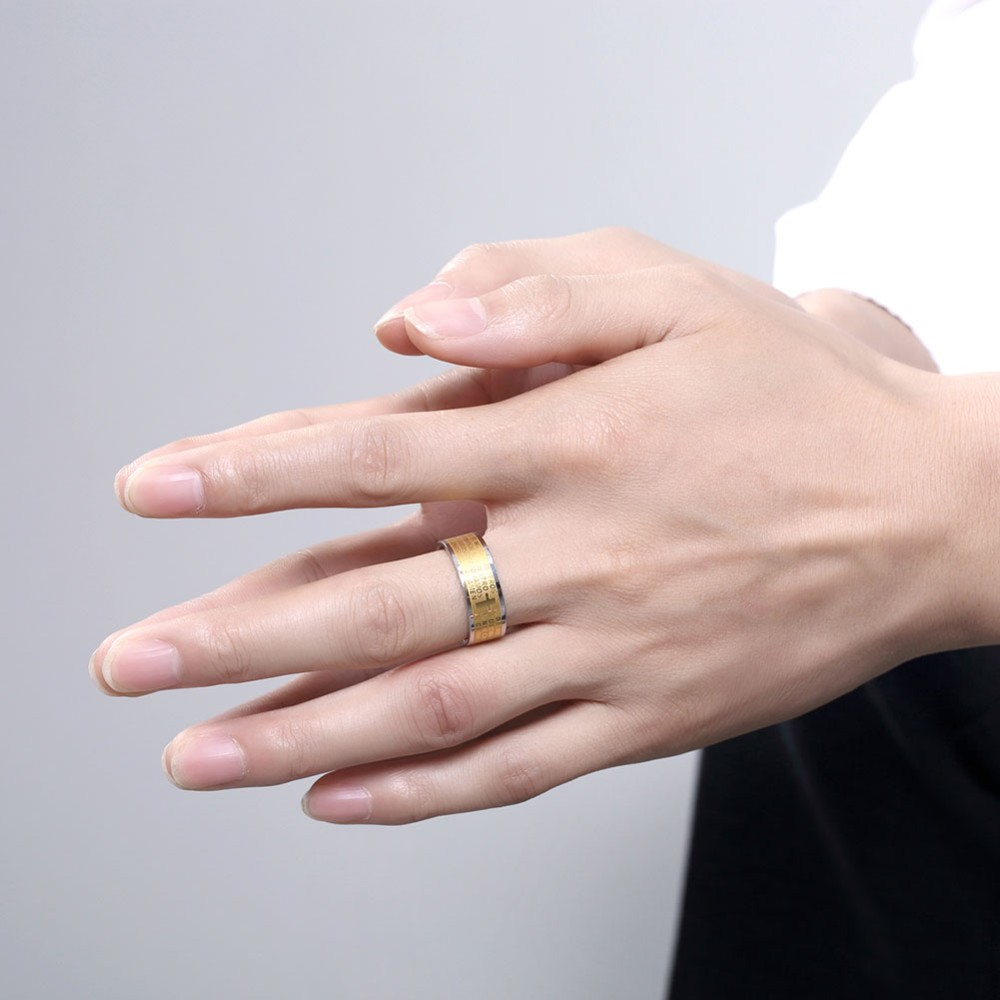 Seanuo Golden 8mm wide men ring jewelry yellow gold color 316L ...