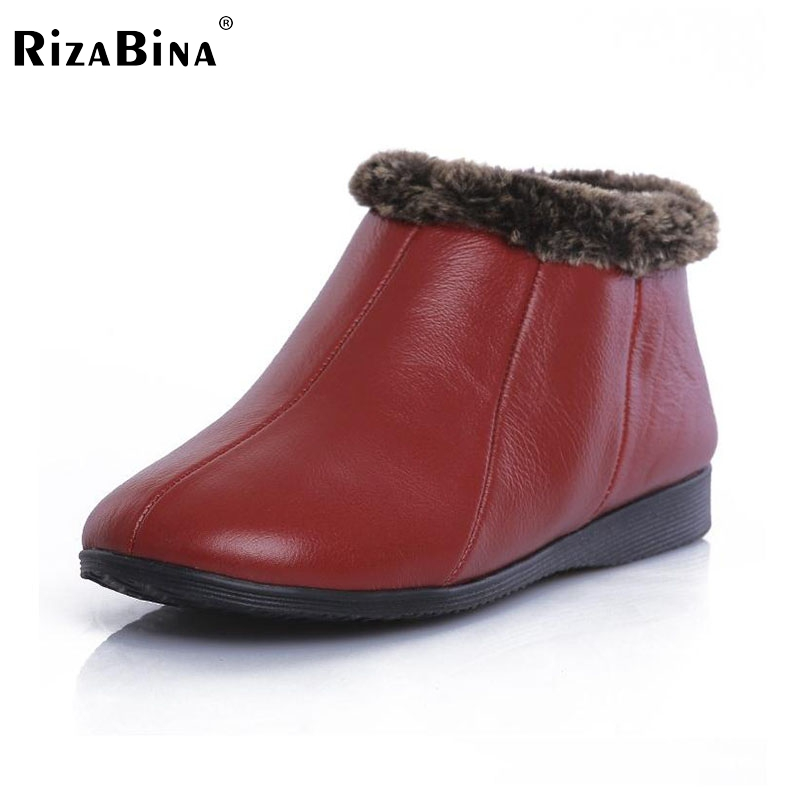 ФОТО RizaBina Free shipping half ankle short natrual real genuine leather wedge boots women snow boot shoes R2444 EUR size 35-43