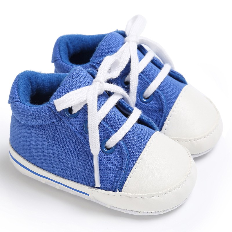 Baby Infant Toddler Crib Girls Boys Canvas Spring Autumn Lace-Up Padded Soft Soled Sneakers Shoes New