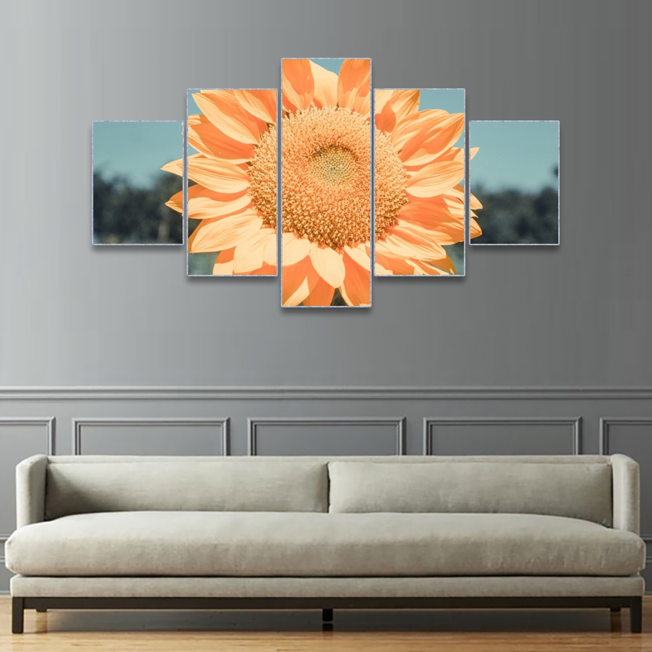 Laeacco Canvas Calligraphy Painting 5 Panel Sunflower Wall Artwork Abstract Garden Posters Prints Nordic Home Decoration Picture in Painting Calligraphy from Home Garden