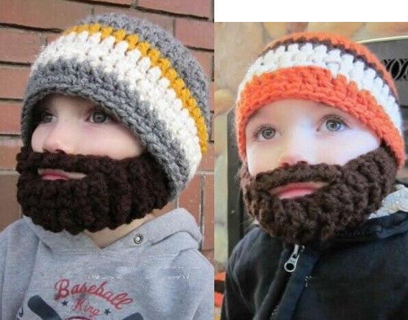 Envío Gratis 5 colores del bebé de la gorrita tejida con barba ...