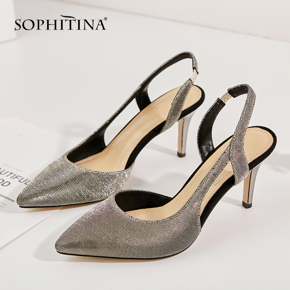 SOPHITINA New Fashion High Heel Ladies Sandals Casual Shallow Back Strap Shoes Basic Solid Outside Thin Heel Women Sandals SO212