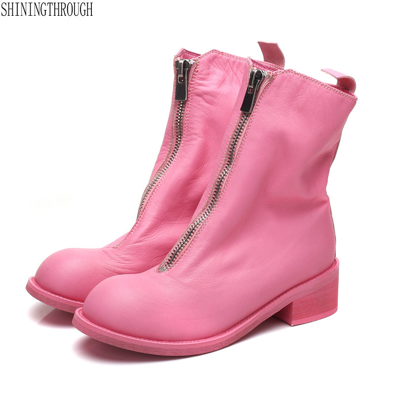 100% cow leather Women Boots zipper pink ankle boots woman spring autumn motorcycle shoes woman ladies wedding shoes недорого