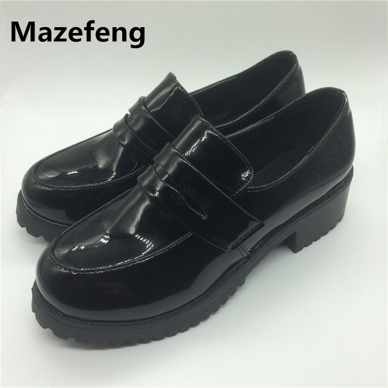 2016 cosplay leather shoes woman Japanese students casual shoes black uniform shoes breathable zapatos mujer аксессуары для косплея neko cosplay