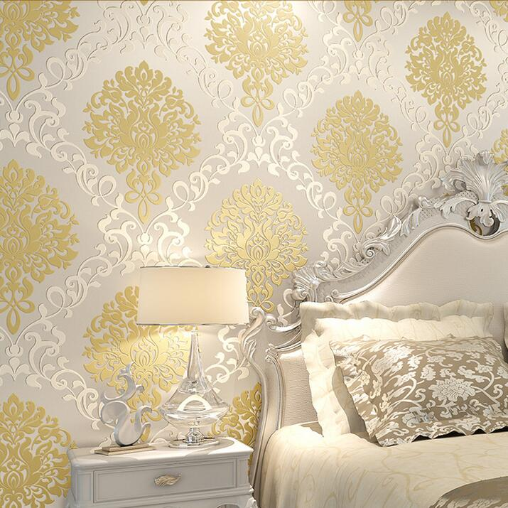Classic European Embossed Gold Glitter Damask Wallpaper For Walls 3 ...