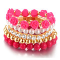 6pcs/set Rose Designer Bohemian Candy Color Multilayer Beads Bracelet Bangles jewelry for women gift pulseras mujer wrist band