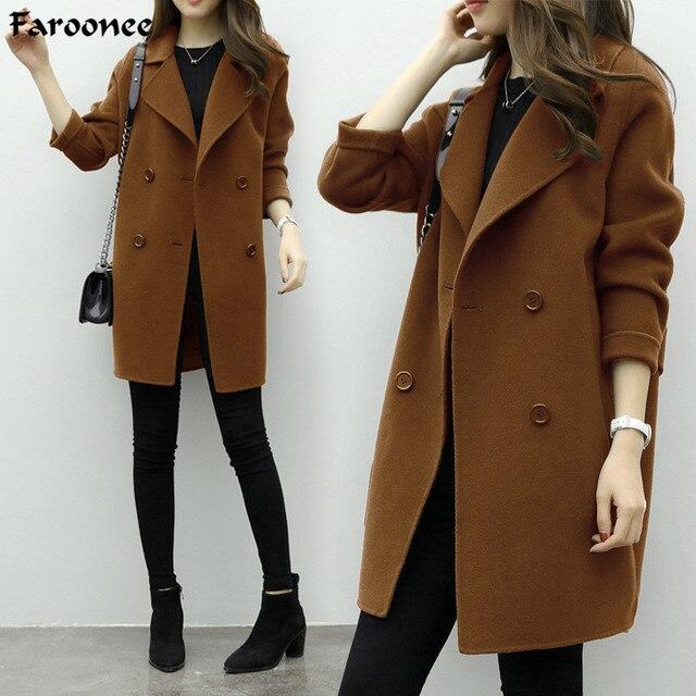 Faroonee новые тонкие Полушерстяное пальто Для женщин с длинным рукавом отложной воротник Верхняя одежда, куртки Повседневное осень-зима элегантные пальто 6Q0475