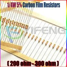 100 шт. 1/4 Вт 5% углерода резистор 200 220 240 270 300 Ом