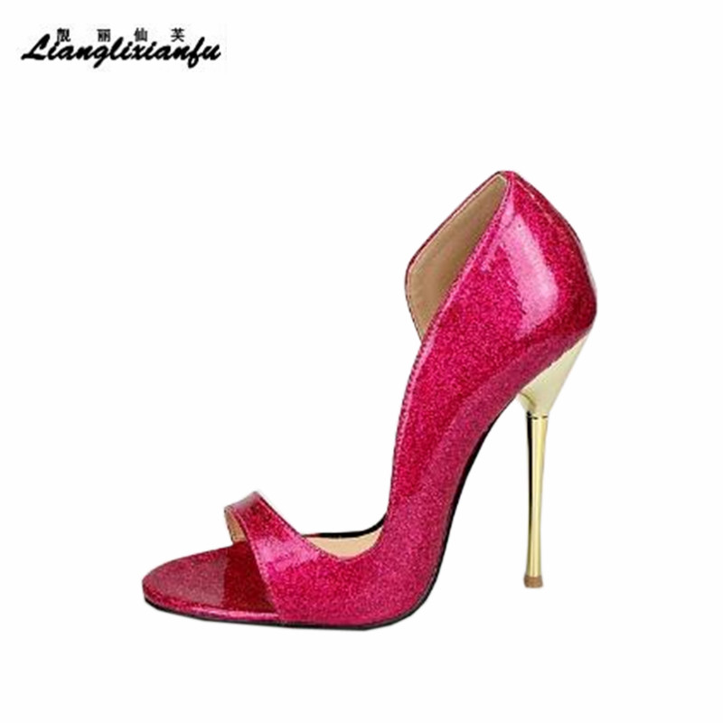 LLXF Plus size:40-44 45 46 47 48 49 50 Summer Stiletto Ladies Shoes Sexy 13cm Metal Thin High Heels Sandals woman Peep Toe Pumps high heel sandals women high heels slippers peep toe pumps summer shoes woman sandals plus size 34 40 41 42 43 44 45 46 47 48