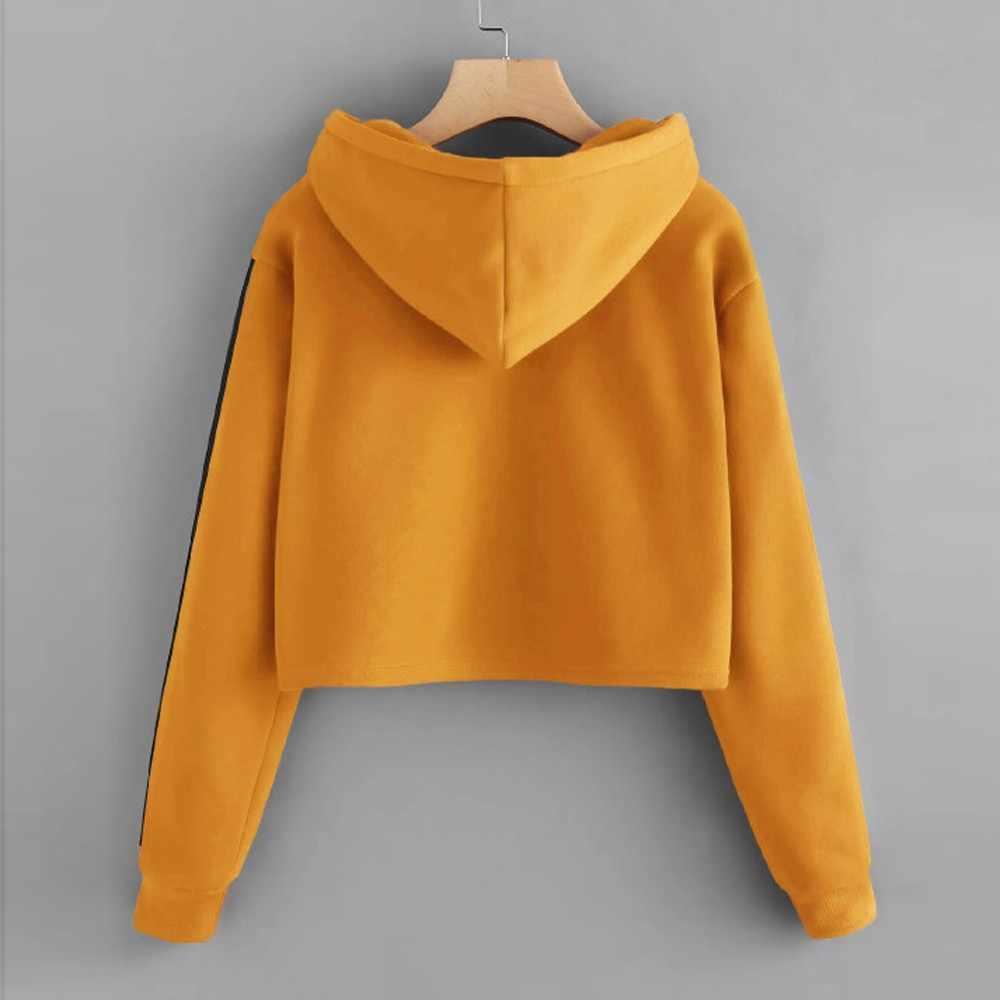 a49993eb5019a ... Crop Hoodies Womens Striped Long Sleeve Hoodie Sweatshirt Jumper Hooded  Pullover Tops Winter Sweatshirts Hoody Ladies ...