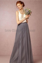 Graceful Scoop Tank Floor Length Prom Gown A Line Wedding Party Bridesmaid Dress Satin Tulle Draped Bridesmaid Dresses