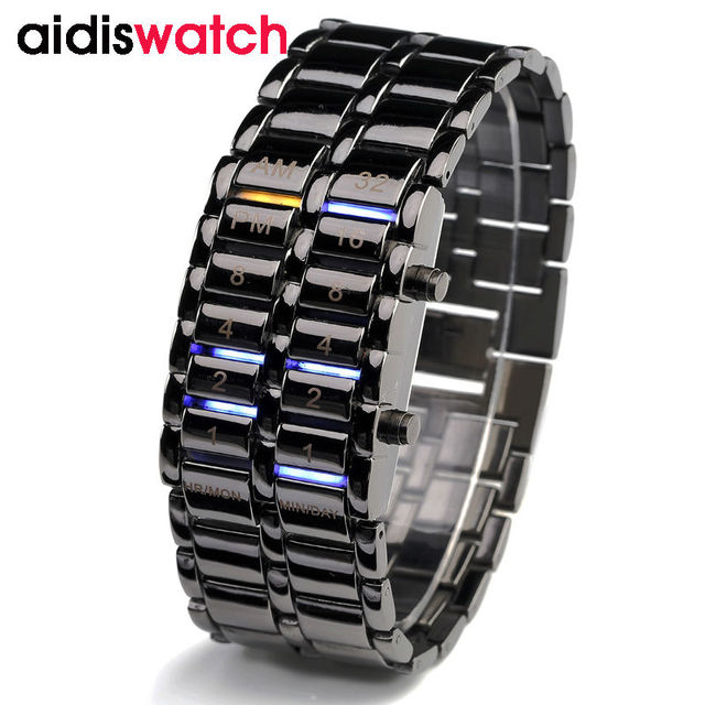 Waterproof 2016 New Fashion Men Women Lava  Electronic second generation Binary  LED  Bracelet Watch Wristwatch Clock Hours