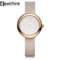 GEEKTHINK Luxury Quartz Watches Women Brand Ladies Simple Casual Leather Strap Wristwatch Gold Girl Clock Female