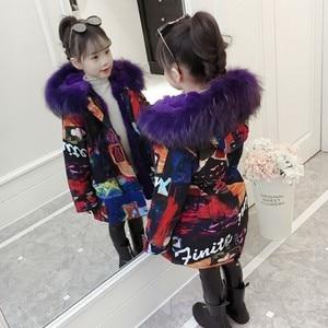 Image 2 -  30度2020新ガール服ロングが詰め服冬ジャケット子供暖かい厚みのフード付きフェイクファーコートティーン生き抜くパーカー